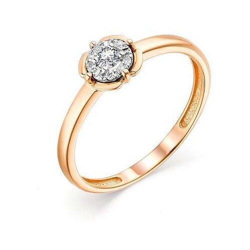 АЛЬКОР Кольцо с 6 бриллиантами из красного золота 13570-100, размер 17.5 алькор кольцо с 6 бриллиантами из красного золота 13428 113 размер 15 5