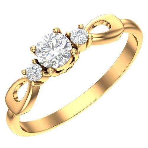 POKROVSKY Женское золотое кольцо с бесцветными фианитами 1100925-00770, размер 16.5