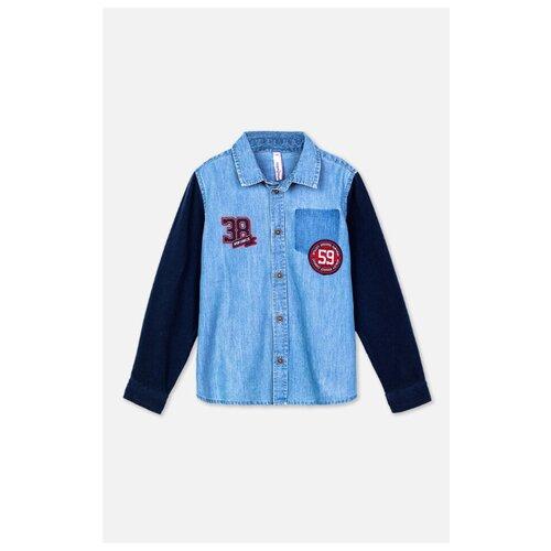 Рубашка playToday размер 98, темно-синий/синий рубашка женская bello belicci цвет темно синий sa1 9 размер xl 48