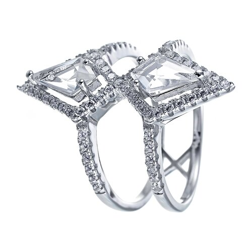 ELEMENT47 Широкое ювелирное кольцо из серебра 925 пробы с кубическим цирконием и ювелирным стеклом WR25184-R1_US_002_WG, размер 17