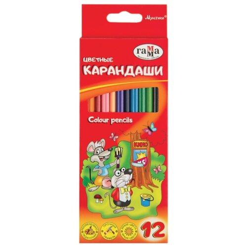 Купить ГАММА Карандаши цветные Мультики, 12 цветов (050918_07), Цветные карандаши