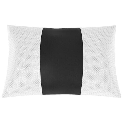 Автомобильная подушка, поясничный подпор Экокожа. Середина: чёрная гладкая экокожа. Боковины: белая экокожа с перфорацией.