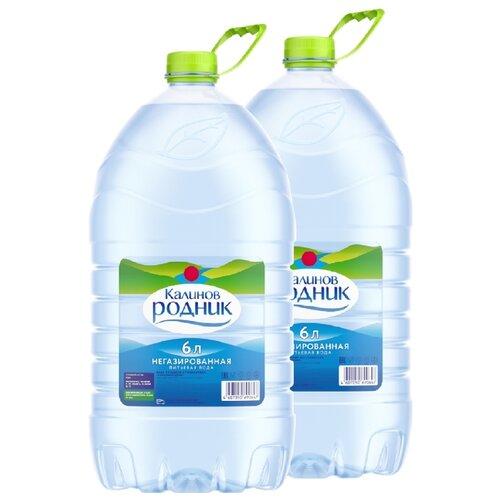Вода питьевая Калинов Родник негазированная, ПЭТ, 2 шт. по 6 л вода минеральная калинов родник газированная пэт 6 шт по 1 5 л
