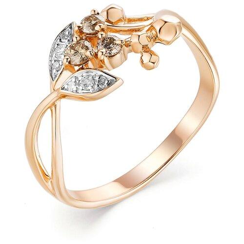 АЛЬКОР Кольцо с 9 бриллиантами из красного золота 13202-117, размер 17 фото