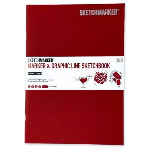 Фото - Скетчбук SketchMarker Marker&Graphic Line 25 х 17.6 см, 180 г/м², 16 л. красный блокнот graphic frankfurt l 256 стр 16 5 х 22 см 120 г м2