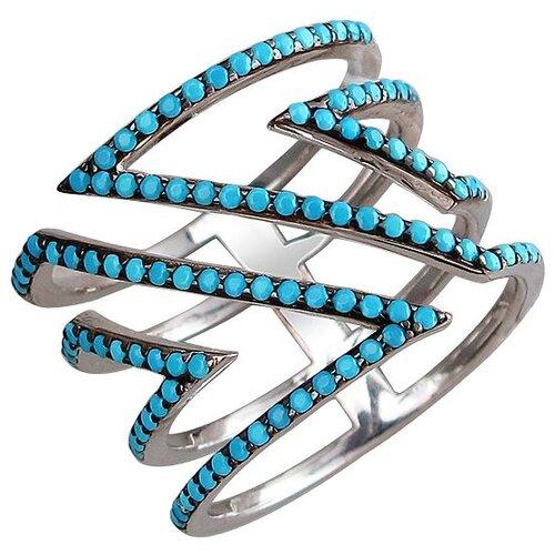 Эстет Кольцо с фианитами из серебра 01К2510205-1, размер 16.5 ЭСТЕТ