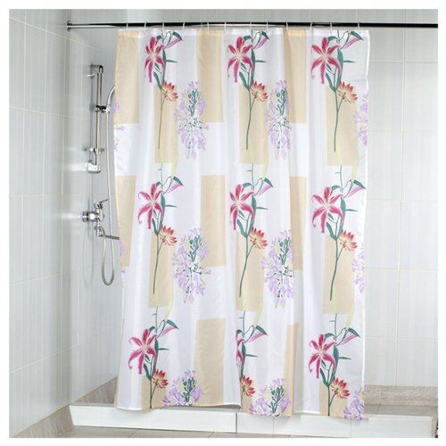 Штора для ванной Aquarius Лилии 180х200 бежевый/белый с розовыми цветами