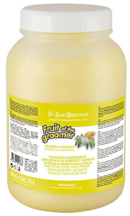 Маска Iv San Bernard Fruit of the Groomer Ginger and Elderberry Восстанавливающая с антибактериальным эффектом для кошек и собак 3 л