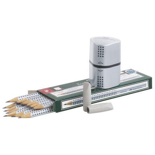 Faber-Castell Набор чернографитных карандашей Grip 2001 12 шт с 2 ластиками-колпачками и точилкой (117080)
