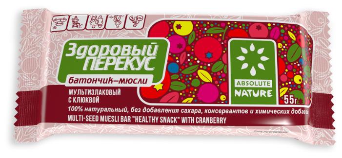 Злаковый батончик Absolute NATURE Здоровый перекус без сахара с клюквой, 55 г