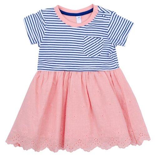 Платье playToday размер 74, розовый/темно-синий/белый