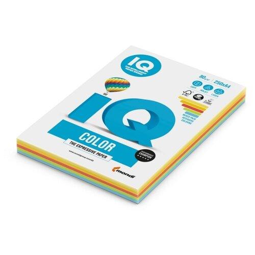 Бумага цветная IQ А4, 80 г, 5 цветов, Интенсив, по 50 листов, пачка 250 листов