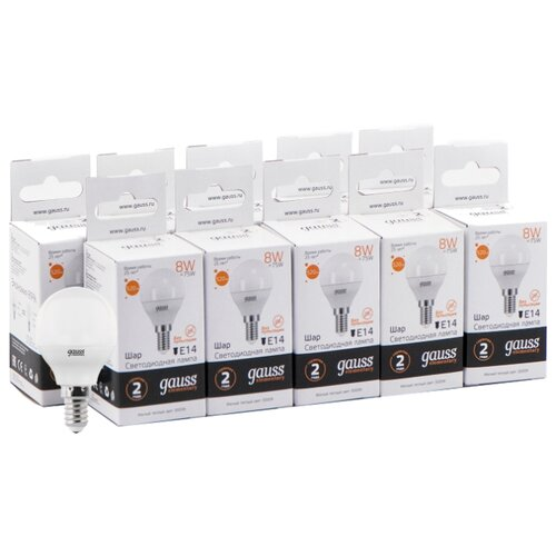 Упаковка светодиодных ламп 10 шт gauss 53118, E14, 8Вт упаковка светодиодных ламп 10 шт gauss 33228 e27 c37 8вт