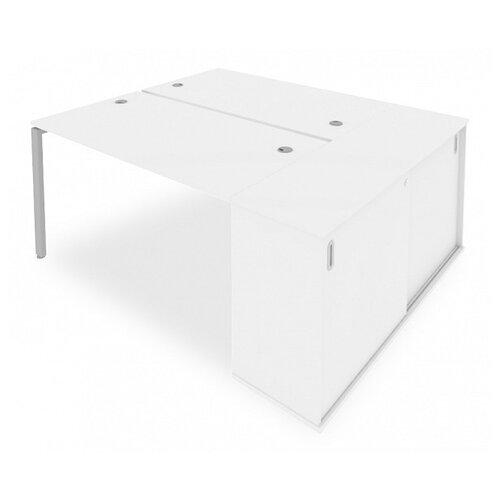 Стол офисный Рива Metal System Б.РС-СШК-1.3 белый/серый