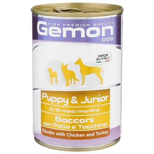 Корм для собак Gemon Кусочки с курицей и индейкой. Консервы для щенков и юниоров (0.415 кг) 1 шт.Корма для собак<br>