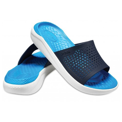 сабо женские crocs classic mammoth luxe цвет черный 204211 001 размер m7 w9 39 40 Шлепанцы Crocs LiteRide Slide, размер 39-40(M7/W9), navy/white