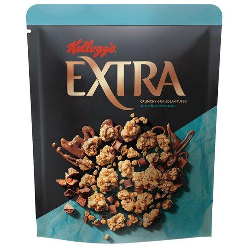 Гранола Kellogg's хлопья с молочным шоколадом, дой-пак, 300 г гранола verestovo хлопья персик клюква семена тыквы дой пак 300 г
