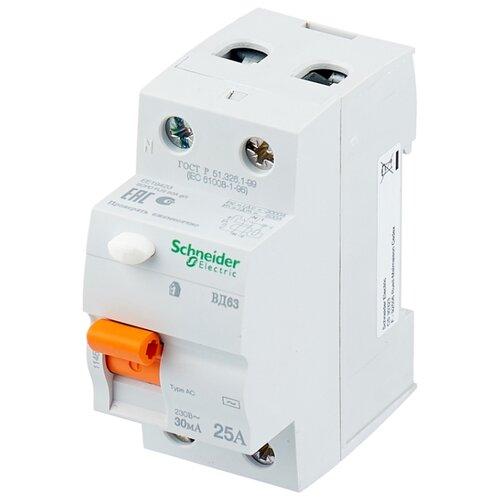 УЗО Schneider Electric 30мА тип AC ВД63 2 полюса 25 А узо schneider electric dekraft 2p 25а 30ма тип ac 6ка 14054dek