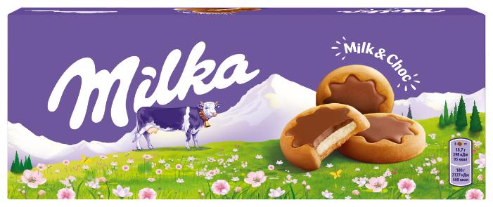 Печенье Milka с молочной начинкой, частично покрытое молочным шоколадом 187 г