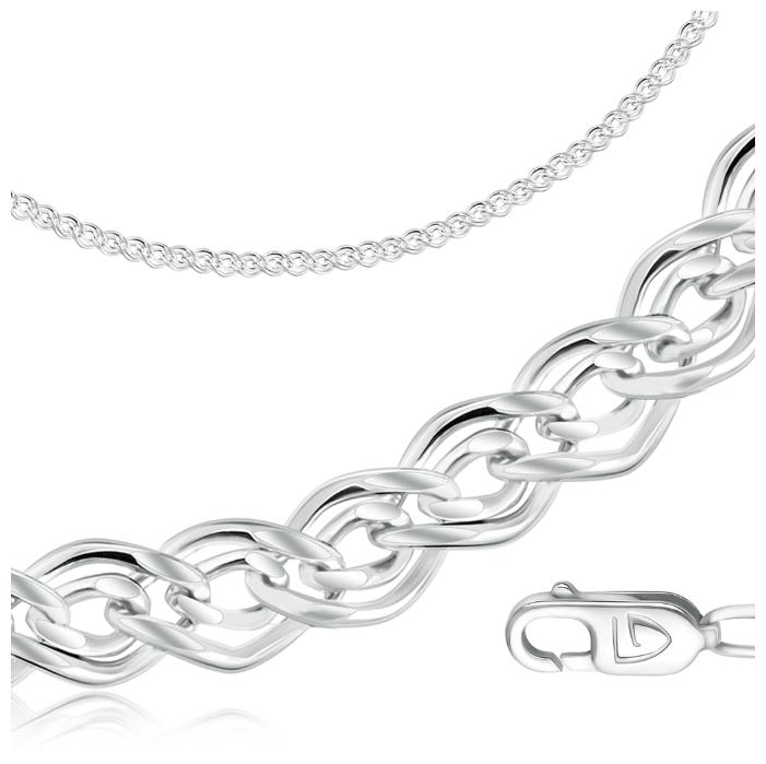 Серебряная цепочка на шею Красцветмет NC-22-078A-3-0-35 с плетением снейк, размер 40 мм