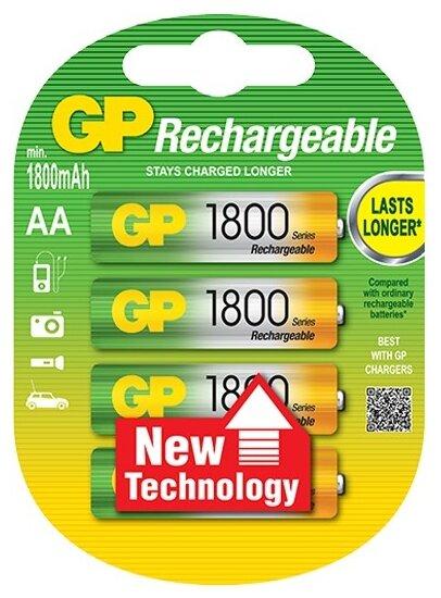 Аккумулятор Ni-Mh 1800 мА·ч GP Rechargeable 1800 Series AA — купить по выгодной цене на Яндекс.Маркете