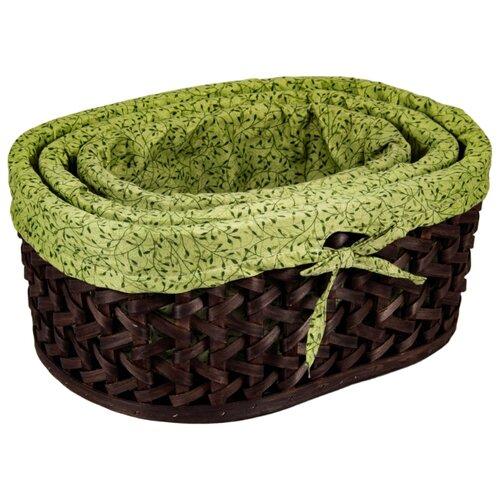 Русские подарки Набор плетеных корзинок 80350 коричневый/зеленый