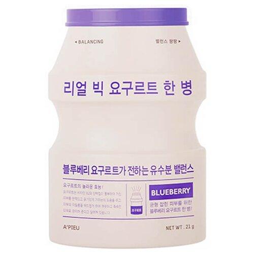Фото - A'PIEU тканевая маска Real Big Yogurt One-Bottle Blueberry с экстрактом голубики, 21 г a pieu тканевая маска real big yogurt one bottle mango с экстрактом манго 21 г