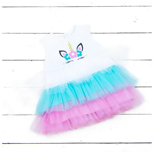 Платье АЛИСА размер 92, бело-розово-мятный