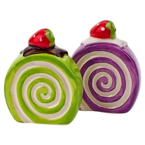 """ELFF ceramics Набор солонка и перечница """"Бисквит"""" зеленый/фиолетовый"""