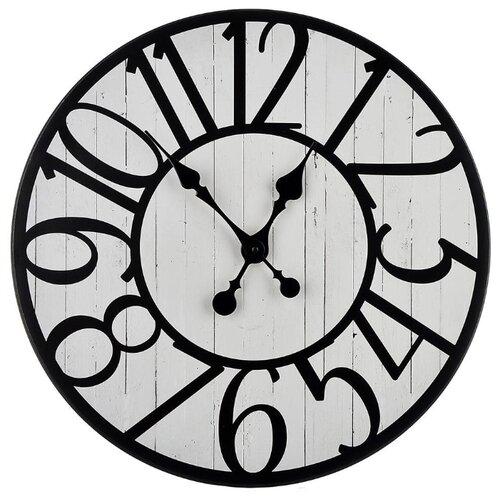Часы настенные кварцевые Xiamen Titosh с крупными цифрами белый/черный