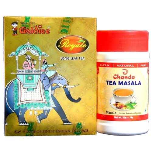 Чай черный Goldiee Крупнолистовой Long Leaf Tea и приправа для чая Chanda Tea Masala, набор