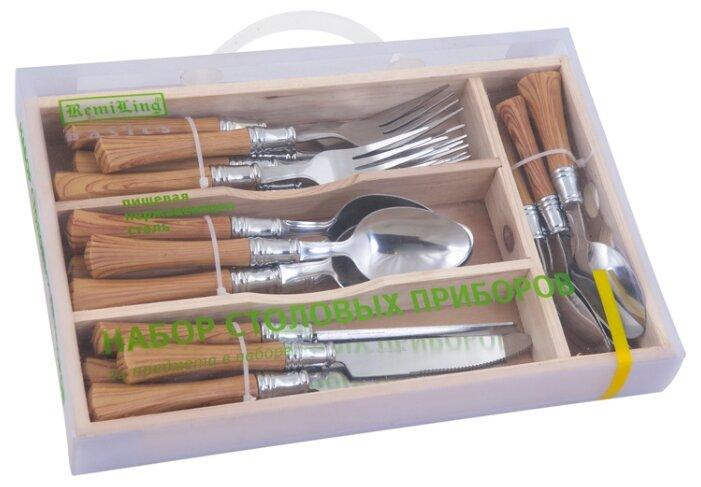 RemiLing Набор столовых приборов Basics 24 предмета серебристый / коричневый