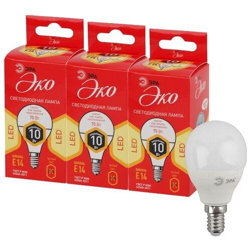 Упаковка светодиодных ламп 3 шт ЭРА E14, P45, 10ВтЛампочки<br>