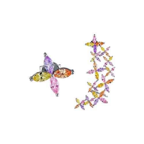 JV Серебряные серьги с фианитом SE-B0476C-SR-002-WG