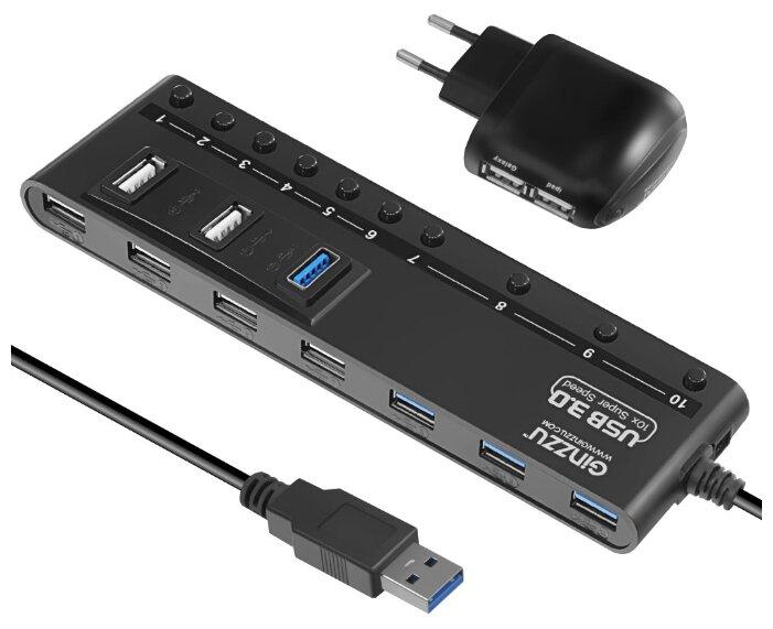 USB-концентратор Ginzzu GR-380UAB, разъемов: 10