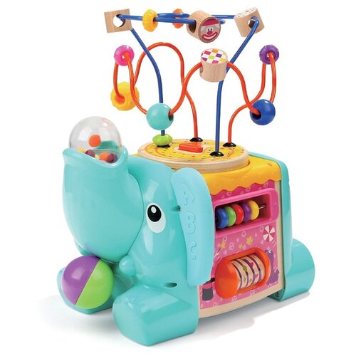 развивающая игрушка mapacha лабиринт сортер большой 76675 Развивающая игрушка Mapacha Слоненок 76786 голубой/розовый/желтый/зеленый