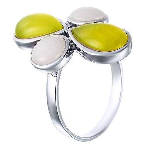 JV Кольцо с агатами и жадеитами из серебра TRE35R-KO-AG-JD-WG, размер 18 jd коллекция разноцветное кольцо дефолт