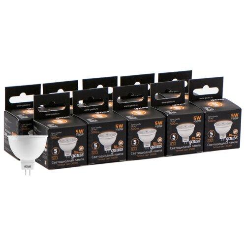 Упаковка светодиодных ламп 10 шт gauss 101505105, GU5.3, MR16, 5Вт упаковка светодиодных ламп 10 шт gauss 13626 gu10 r50 5 5вт