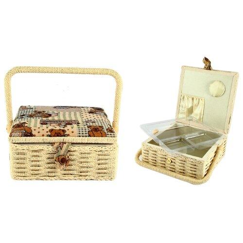 Шкатулка Русские подарки для рукоделия Сундучок 22х22х10 см бежево-коричневый шкатулка для рукоделия сундучок 25 18 11см уп 1 16шт