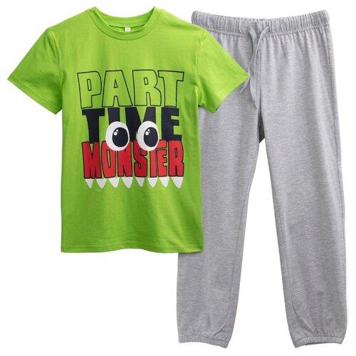 Пижама playToday размер 116, зеленый/светло-серыйДомашняя одежда<br>