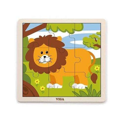 Купить Рамка-вкладыш Viga Лев (51442), 9 дет., Пазлы