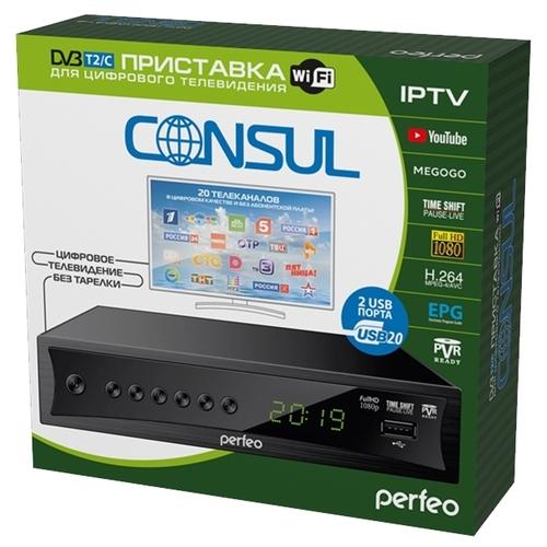 "Приставка DVB-T2/C Perfeo ""CONSUL"" для цифр.TV, Wi-Fi, IPTV, HDMI, 2 USB, DolbyDigital, пульт ДУ (PF_A4413)"