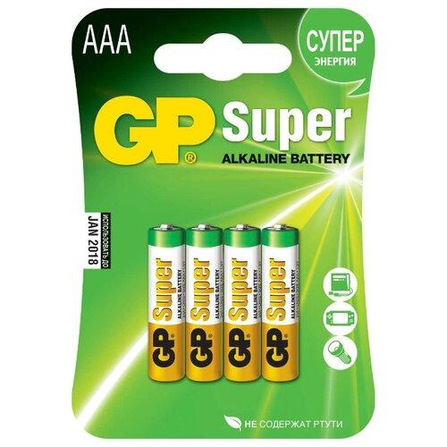 Батарейка GP Super Alkaline AAA 4 шт блистер батарейка camelion green series aaa 4 шт блистер