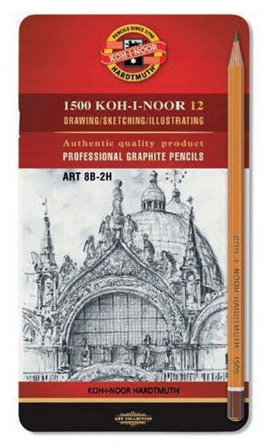 KOH-I-NOOR Набор чернографитных карандашей Art серия 1500 12 шт (1502012008PL)