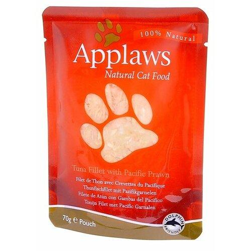 Влажный корм для кошек Applaws с тунцом, с креветками 12шт. х 70 г (кусочки в соусе)