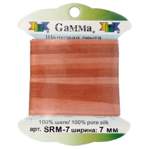 Купить Лента Gamma шелковая SRM-7 7 мм 9.1 м ±0.5 м M047 св. коричневый/коричневый, Декоративные элементы