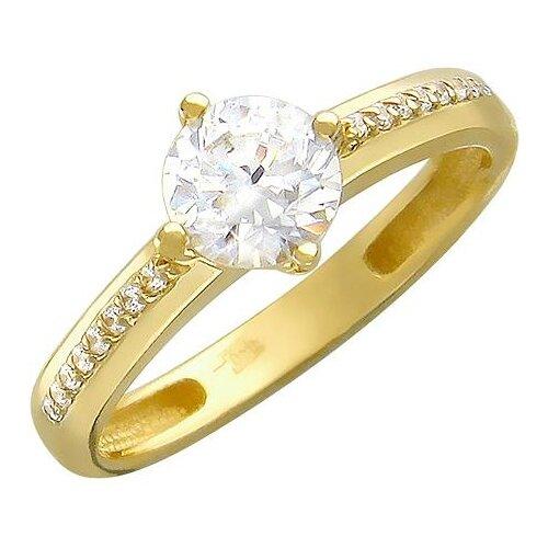 Эстет Кольцо с фианитами из желтого золота 01К136358, размер 19.5