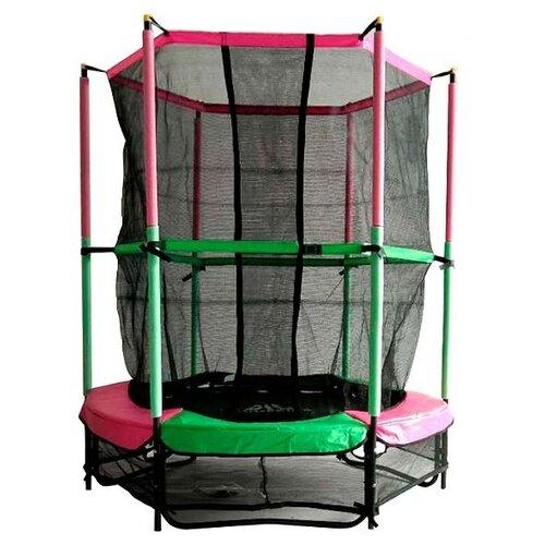 "Каркасный батут DFC Jump Kids 55"" (пружины амортизирующий трос) 137х137х165 см зеленый/розовый"