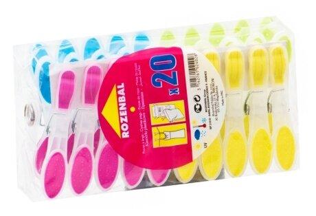 ROZENBAL прищепки пластиковые разноцветные с латексным покрытием 20 шт.