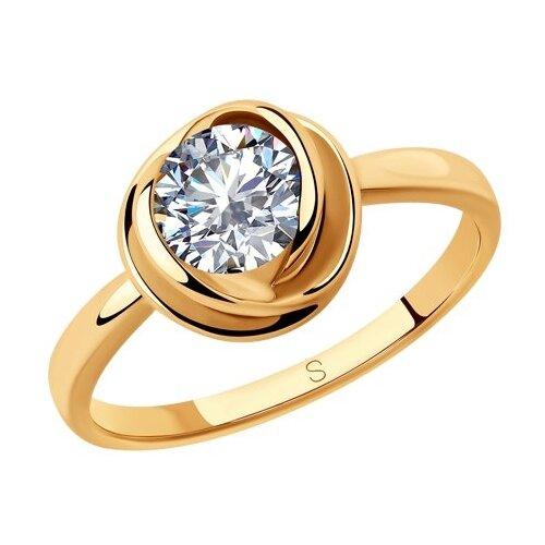 SOKOLOV Кольцо из золочёного серебра с фианитом 93010792, размер 18.5